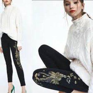 Zara Trafaluc Denimwear Hi-Rise Embroidered Jeans